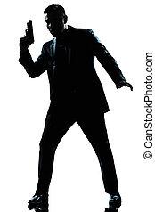 スパイ, シルエット, 銃, 保有物, 人