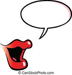 スピーチ泡, 口, 女性, 漫画