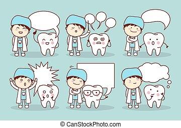スピーチ泡, 漫画, 歯
