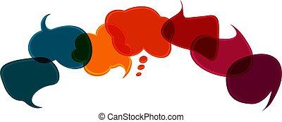 スピーチ, 有色人種, news., 多様性, cloud., 対話, idea., 友情, 話, 社会, 共有, シンボル, -, 話す, discussion., cultures., communicate., communication., network., 多様, bubble.