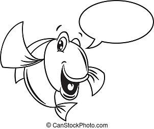 スピーチ, fish, 泡, 漫画