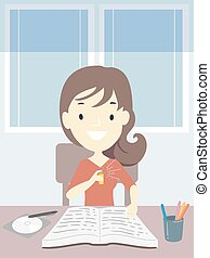 スプレー, イラスト, 勉強しなさい, 刻み目, 女の子, 十代, 香水