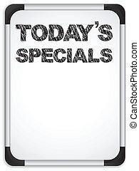 スペシャル, whiteboard, チョーク, 書かれた, today's, メッセージ