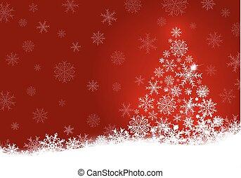 スペース, 木, イラスト, クリスマス, ベクトル, デザイン, 背景, コピー, 雪片, 赤