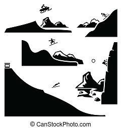 スポーツ, セット, 4, 極点, pictogram