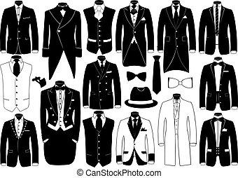 スーツ, セット, イラスト