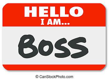スーパーバイザー, ステッカー, nametag, 権威, 上司, こんにちは