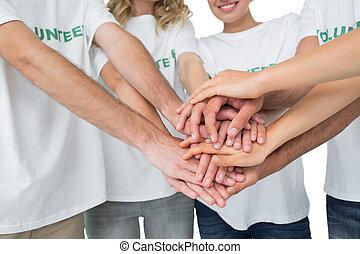 セクション, 手, ボランティア, 中央の, 一緒に