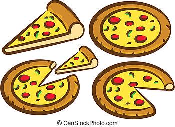 セット, おいしい, ピザ