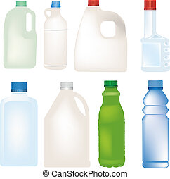 セット, びん, ベクトル, プラスチック