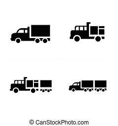 セット, アイコン, トラック輸送