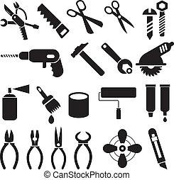 セット, アイコン, 仕事, -, ベクトル, 道具