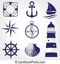セット, アイコン, 型, ラベル, 要素, デザイン, 海事