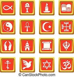セット, アイコン, 宗教, ベクトル, 広場, 赤