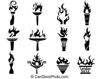セット, アイコン, 火, トーチ, 炎, 黒