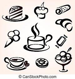 セット, アイコン, 甘い, パン屋, 他, ペストリー, caffe