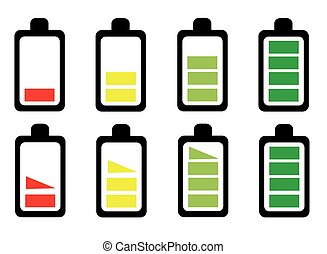 セット, アイコン, 電池, ベクトル, イラスト