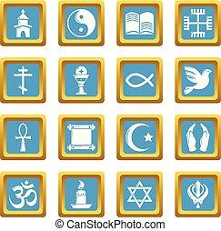 セット, アイコン, sapphirine, 宗教, ベクトル, 広場