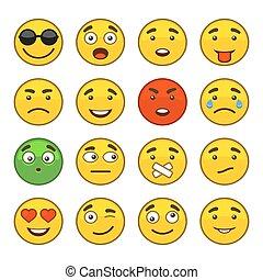 セット, アイコン, set., ベクトル, 微笑, emoji
