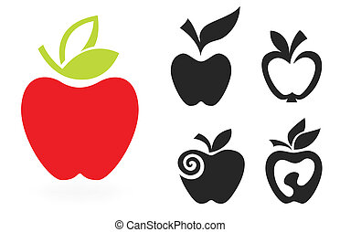 セット, アップル, 隔離された, イラスト, バックグラウンド。, ベクトル, 白, アイコン