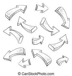セット, イラスト, sketchy, ベクトル, デザイン, 矢, 要素, 3d