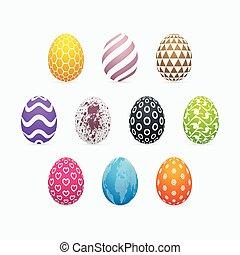 セット, イースター, パターン装飾された, 次元, カラフルである, 3, 卵