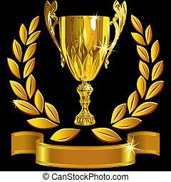 セット, カップ, 成功, 金, 花輪, 勝利, ベクトル, 黒い背景, 月桂樹, 光沢がある, リボン