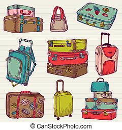 セット, カラフルである, スーツケース, 型, -, ベクトル, デザイン, スクラップブック