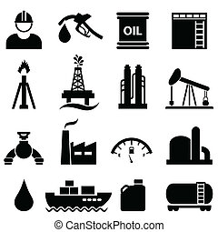 セット, ガソリン, オイル, アイコン