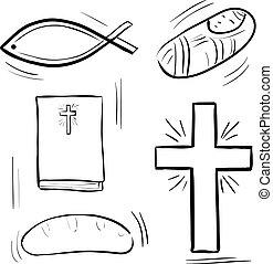 セット, クリスマス, アイコン, cristian