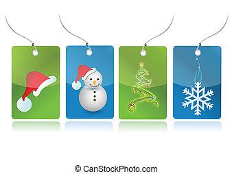 セット, クリスマス, イラスト, タグ