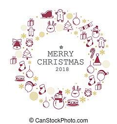 セット, クリスマス, 陽気, アイコン