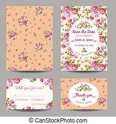 セット, -, シャワー, ベクトル, 結婚式, 赤ん坊, invitation/congratulation, カード