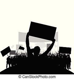 セット, シルエット, 人々, 背中, 2, 抗議, ベクトル, グループ
