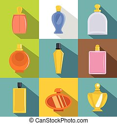 セット, スタイル, アイコン, 平ら, びん, 香水