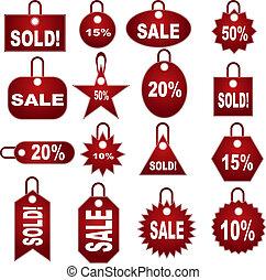 セット, タグ, 価格設定, 小売り