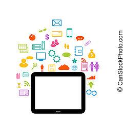 セット, タブレット, 事実上, 要素, infographic, コンピュータ, 世界