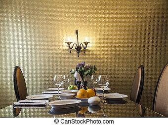 セット, テーブル, 金, 反響室