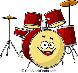 セット, ドラム, 大きい, 笑い, 微笑, 持つこと, 幸せ