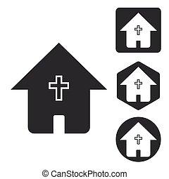 セット, ハウスアイコン, キリスト教徒, モノクローム