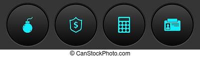 セット, パスワード, ベクトル, 爆弾, 保護, ドル, 同一証明, 保護, icon., 爆発しなさい, バッジ, 準備ができた