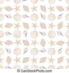 セット, パターン, 黒, 図画, 手, shells., ベクトル, art-work., illustration., インク, スタイル, 輪郭, seamless, シック, ボヘミアン, boho, 創造的, 引かれる