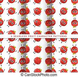 セット, フルーツ, かわいい, 隔離された, 白, 特徴, 背景 パターン, 漫画, seamless, ベクトル, アップル