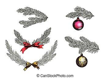 セット, ブランチ, illustration., シンボル, decoration., 木, 隔離された, バックグラウンド。, ベクトル, 年, 新しい, 白い クリスマス