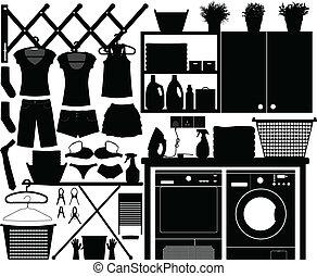 セット, ベクトル, 洗濯物, デザイン