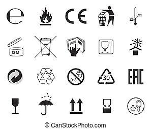 セット, 包装, symbols.