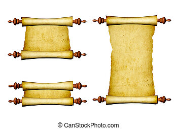 セット, 古い, parchments
