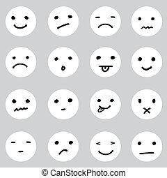 セット, 変化, doodled, 顔, 表現, 漫画