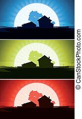 セット, 家, 牧場, 国, 野生, 風景