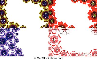 セット, 春, flowers., ベクトル, デザイン, 背景